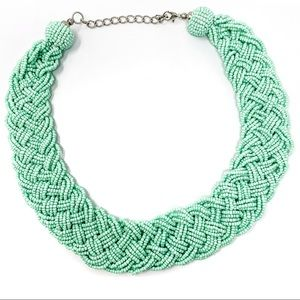 Turquoise Blue Green Beaded Braid Necklace